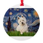 MP-STARRY-Westie1.png Round Ornament