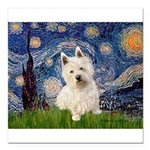 MP-STARRY-Westie1.png Square Car Magnet 3