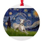 5.5x7.5-Starry-Whippet2.png Round Ornament