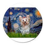 MP-STARRY-Yorkie-Tess.png Round Car Magnet