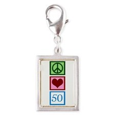 Peace Love 50 Silver Portrait Charm