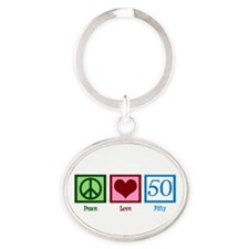 Peace Love 50 Oval Keychain