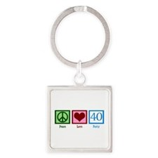 Peace Love 40 Square Keychain