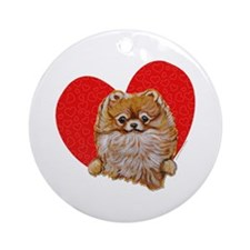 Pomeranian in Heart Ornament (Round)