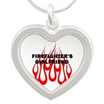 Firefighters Girlfriend Flames Silver Heart Neckla