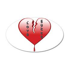 Love Sucks Broken Heart 35x21 Oval Wall Decal