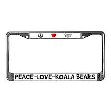 Peace-Love-Koala Bears License Plate Frame