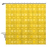 Yellow Dots and Stripes Shower Curtain