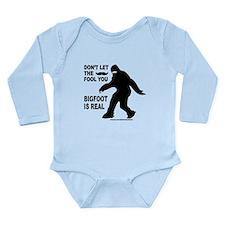 MOUSTACHE BIGFOOT IS REAL Long Sleeve Infant Bodys