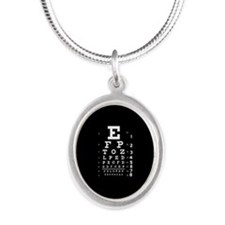 Eye chart gift Silver Oval Necklace