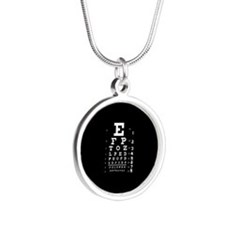 Eye chart gift Silver Round Necklace