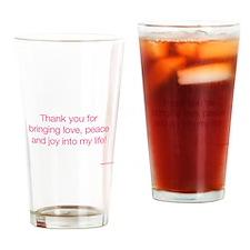 Gratitude Card_love, peace and joy Drinking Glass