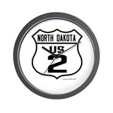 US Route 2 - North Dakota Wall Clock