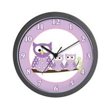 Cute Pink owl Wall Clock