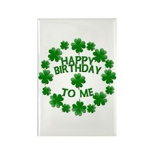 Shamrocks Happy Birthday to Me Rectangle Magnet (1
