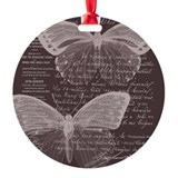 French Butterflies Brown Ornament