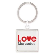 I Love Mercedes Square Keychain