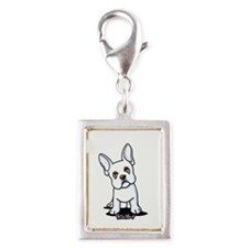 White French Bulldog Silver Portrait Charm
