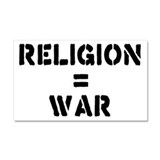 Religion Equals War Atheism Car Magnet 20 x 12