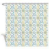 Blue and Yellow Circles and Stripes Shower Curtain