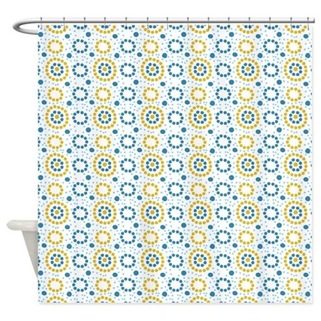 Blue And Yellow Circles And Stripes Shower Curtain By Be