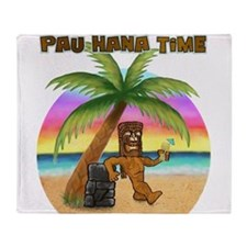 Pau Hana Tiki Throw Blanket