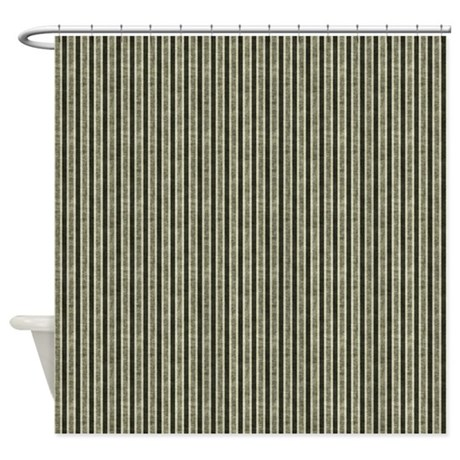 Dark Green Stripes Shower Curtain By Be Inspired By Life