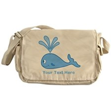 Whale. Blue Custom Text Messenger Bag
