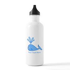 Whale. Blue Custom Text Water Bottle