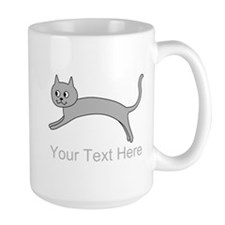 Jumping Gray Cat and Text. Mug