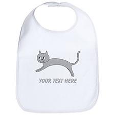Jumping Gray Cat and Text. Bib