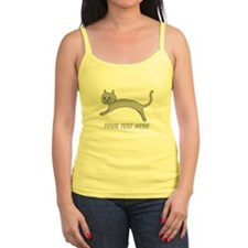 Jumping Gray Cat and Text. Tank Top