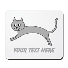 Jumping Gray Cat and Text. Mousepad