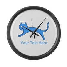 Jumping Blue Cat and Text. Large Wall Clock
