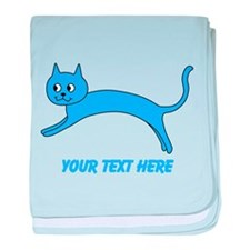 Jumping Blue Cat and Text. baby blanket