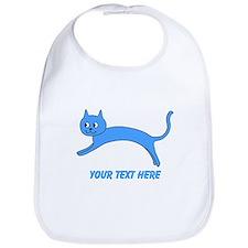 Jumping Blue Cat and Text. Bib