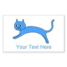 Jumping Blue Cat and Text. Decal