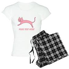 Jumping Pink Cat, Text. Pajamas