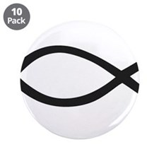 """Christian Fish Symbol 3.5"""" Button (10 pack)"""
