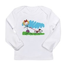 Little Girl and Dog Drawing Long Sleeve Infant T-S