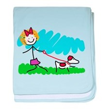 Little Girl and Dog Drawing baby blanket