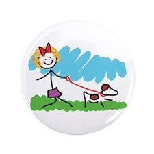 "Little Girl and Dog Drawing 3.5"" Button (100 pack)"