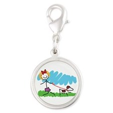 Little Girl and Dog Drawing Silver Round Charm