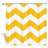Yellow chevron Shower Curtains