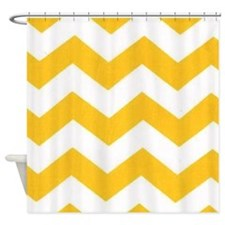 Yellow Chevron Shower Curtains | Yellow Chevron Fabric Shower