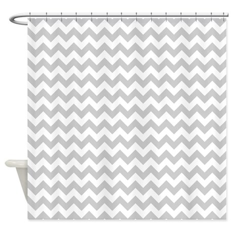 Gray And White Chevron Shower Curtain By Thechicboutique85