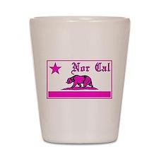 nor cal bear pink Shot Glass