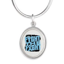 Fight The Fight Prostate Cancer Silver Oval Neckla