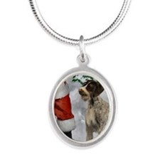 German Wirehaired Pointer Silver Oval Necklace