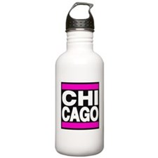 chicago pink Water Bottle